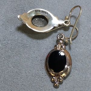 Vintage Jewelry - Sterling & Onyx Dangle and Drop Earrings - 925 MWS